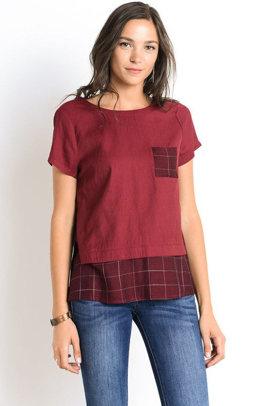 Wine Plaid Top