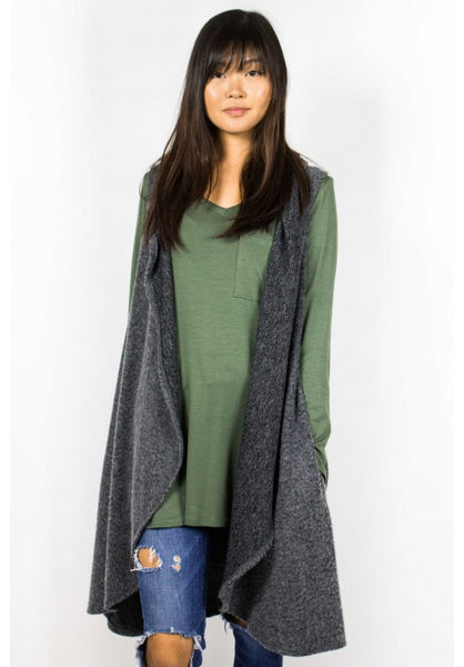 Snuggle Up Hooded Vest (Charcoal)