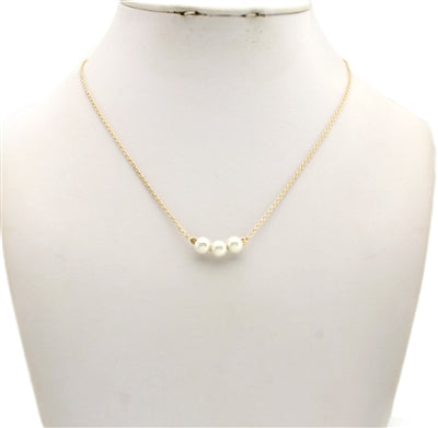3 Pearls Gold Necklace