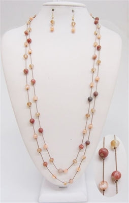 Brown Leather and Rose Necklace