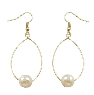 White Opal Crystal on Gold Hoop Earring