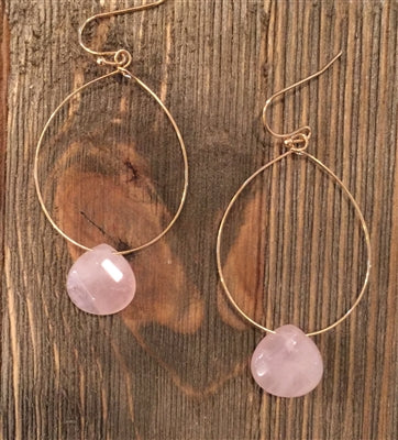Gold Hoop Earring with Peach Stone