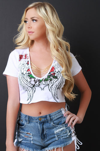 Chain Deep V-Neck Graphic Crop Top
