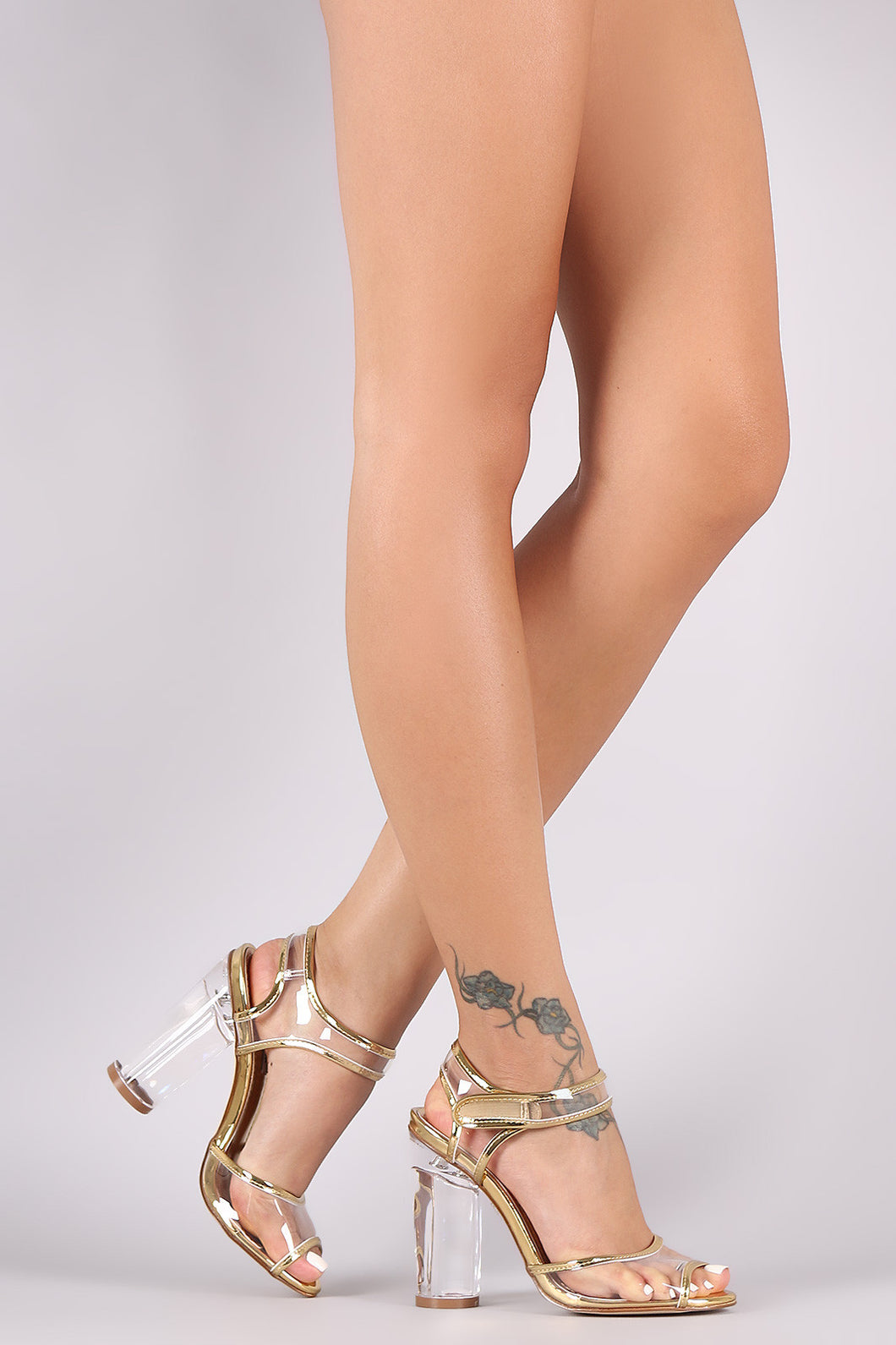 Metallic Ankle Strap Open Toe Chunky Lucite Heel
