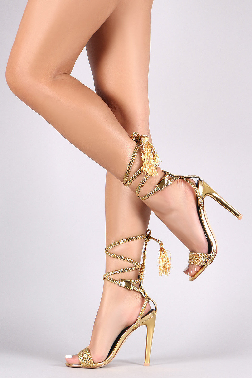 Braided Open Toe Lace-Up Tassel Stiletto Heel