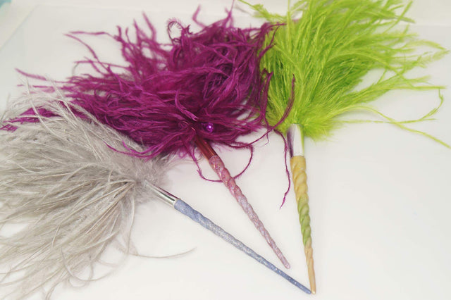 Unicorn horn Wand - Ostrich feathers