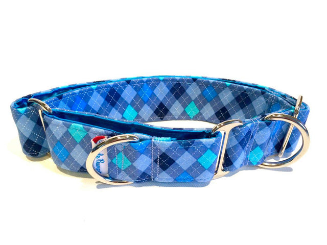 "WiggleBumz- 2"" collar- Blue square patterns"