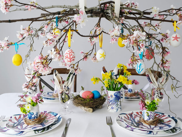 cream cornwall Easter table decorations
