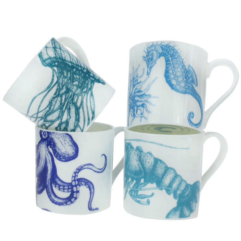 Set Of Four Sea Creatures In Ocean Blues -Kitchen & Dining- Cream Cornwall