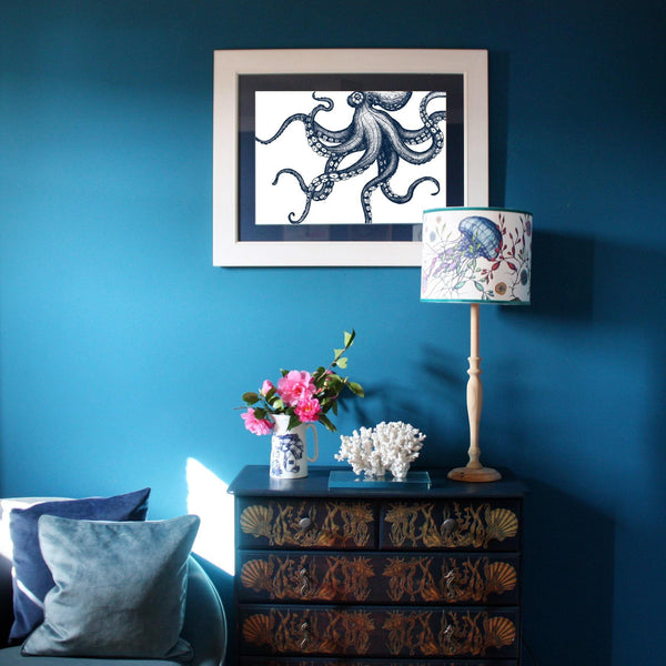 Octopus Art Print In Blue On White In Three Sizes - A2, A3 and A4 -Accessories- Cream Cornwall