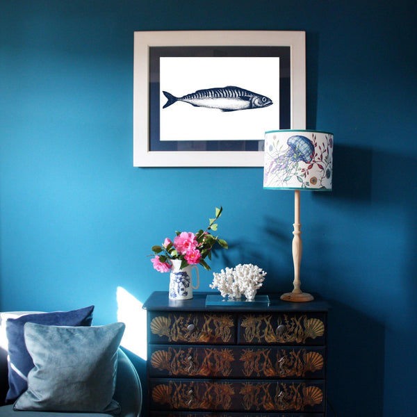 Mackerel Art Print In Blue On White In Three Sizes - A2, A3 And A4 -Accessories- Cream Cornwall