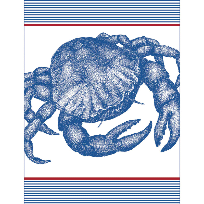 Stripe Crab Tea Towel -Kitchen & Dining- Cream Cornwall