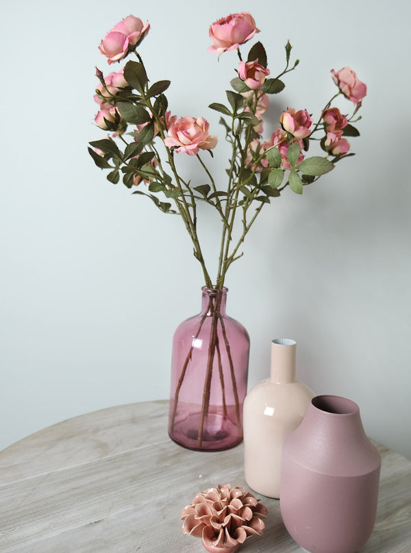 Dry Look Pink Cabbage Roses -Accessories- Cream Cornwall