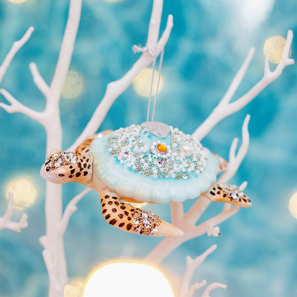 Glitter Turtle Shaped Bauble -Accessories- Cream Cornwall