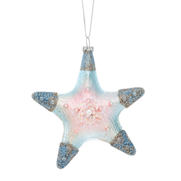Glitter Starfish Shaped Bauble -Accessories- Cream Cornwall