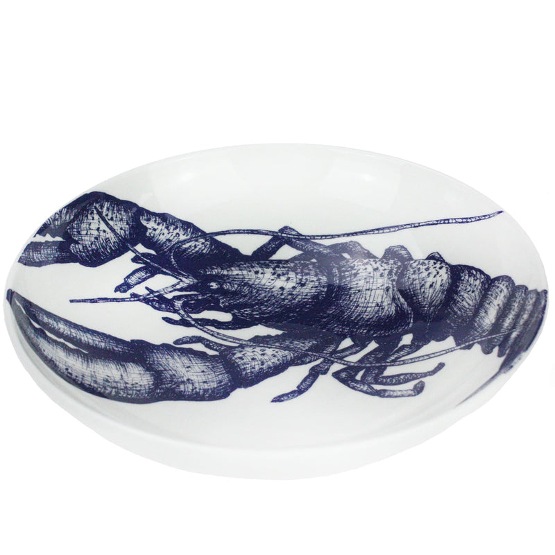Blue And White Bone China Lobster Pasta Bowl -Kitchen & Dining- Cream Cornwall