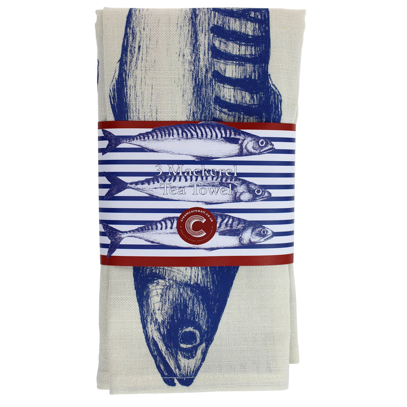 Stripe Mackerel Tea Towel -Kitchen & Dining- Cream Cornwall