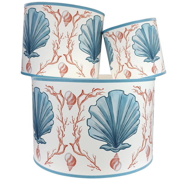 Manderley Blue & Off White Lampshade - Cream Cornwall
