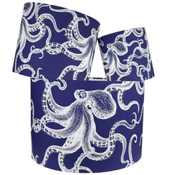 White On Marine Blue Octopus Lampshade -Homeware- Cream Cornwall