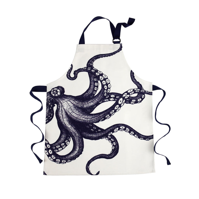 Children's Blue And White Printed Cotton Apron With Octopus Design -Kitchen & Dining- Cream Cornwall