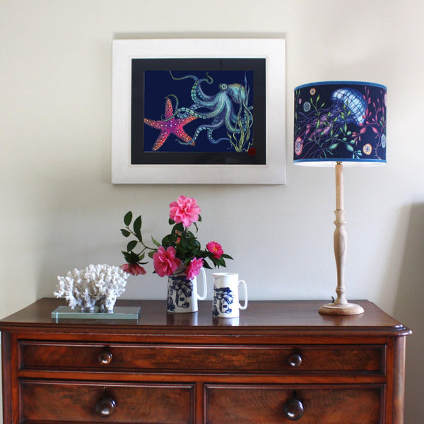 Rainbow Reef Navy Art Print In Three Sizes - A4, A3 And A2 -Accessories- Cream Cornwall