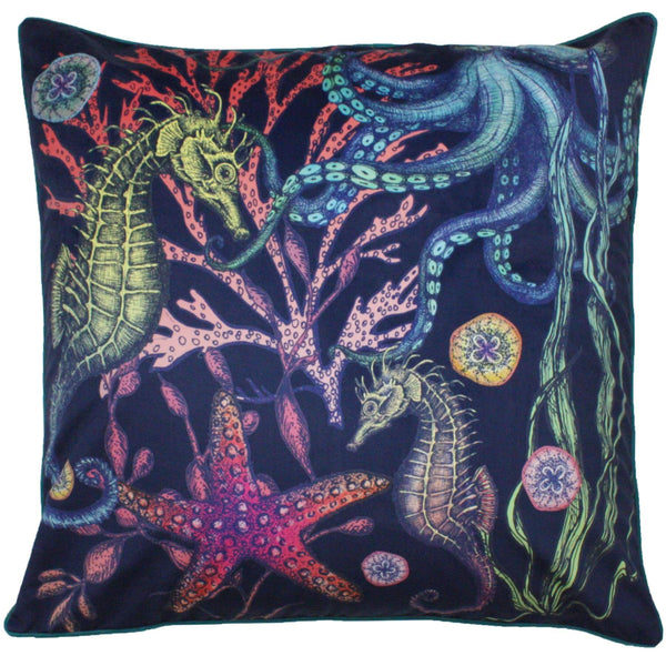Reef Floor Cushion Navy Background -Homeware- Cream Cornwall