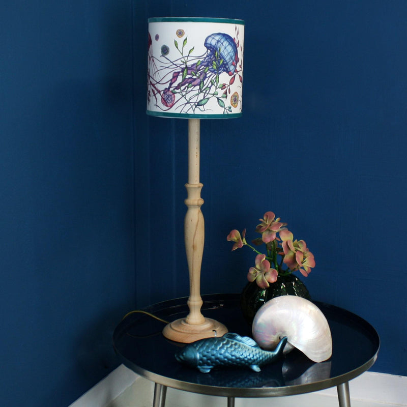 Canyons Reef White Lampshade With Jellyfish Design And Velvet Trim -Homeware- Cream Cornwall