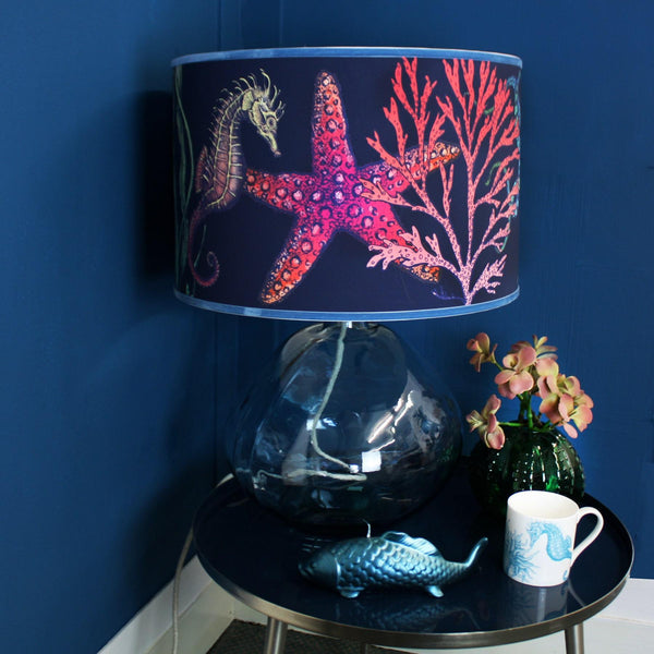 Rainbow Reef Navy Lampshade With Octopus, Seahorse & Starfish With Velvet Trim -Homeware- Cream Cornwall