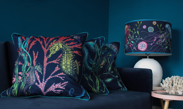 Ningaloo Reef Seahorse Velvet Cushion Cover On Navy Velvet -Homeware- Cream Cornwall