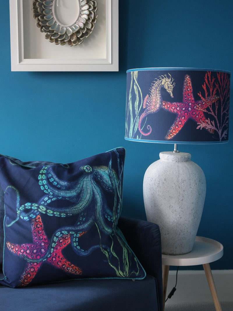 Rainbow Reef Octopus Velvet Cushion Cover On Navy Velvet -Homeware- Cream Cornwall