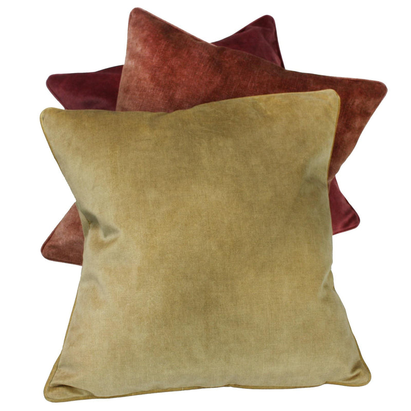 Velvet Cushion Cover- Rhubarb -Homeware- Cream Cornwall