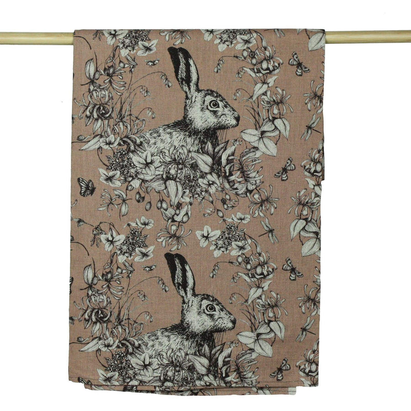 Organic Cotton/Linen Mix Fabric In Hare Design - Warm Tones -Homeware- Cream Cornwall