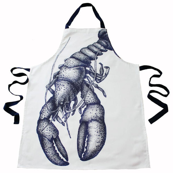 Blue And White Printed Cotton Apron With Lobster Design -Kitchen & Dining- Cream Cornwall
