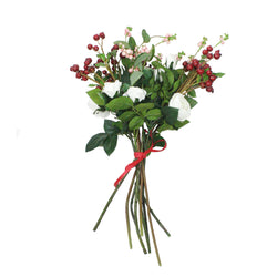 Faux Roses & Berries Hand Tied Bouquet -Accessories- Cream Cornwall
