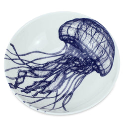 Blue And White Bone China Bowl With Jellyfish Design -Kitchen & Dining- Cream Cornwall
