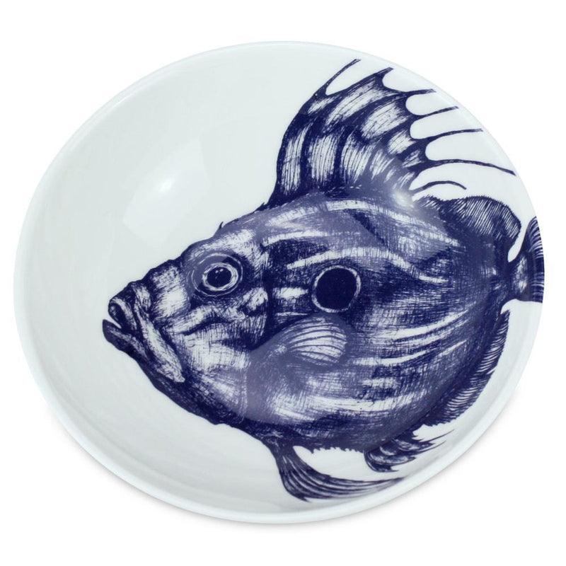 Blue And White Bone China Bowl With John Dory Design -Kitchen & Dining- Cream Cornwall