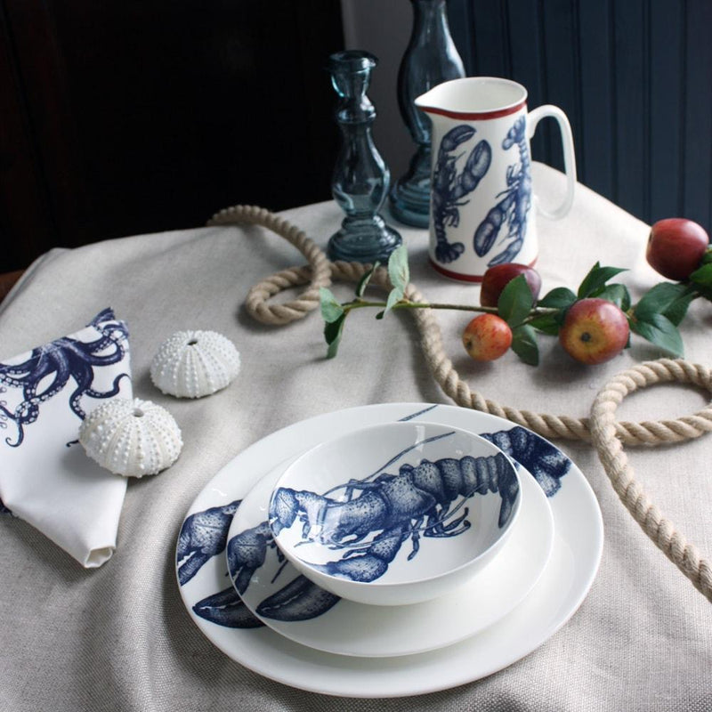 Blue And White Bone China Bowl With Lobster Design -Kitchen & Dining- Cream Cornwall