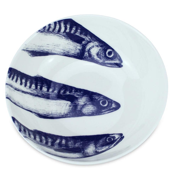 Blue And White Bone China Bowl With Mackerel Design -Kitchen & Dining- Cream Cornwall