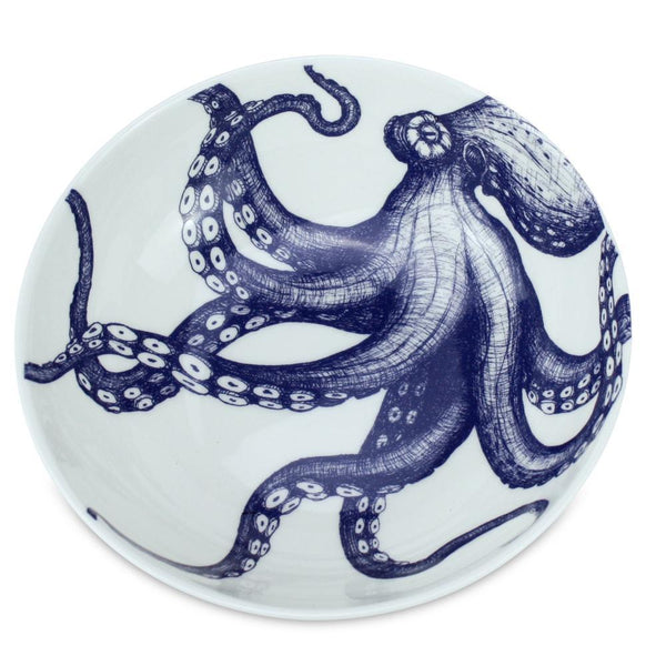 Blue And White Bone China Bowl With Octopus Design -Kitchen & Dining- Cream Cornwall