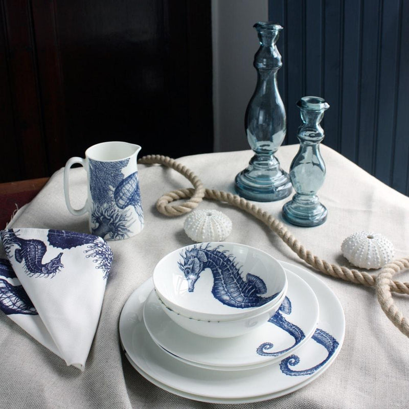 Blue And White Bone China Bowl With Seahorse Design -Kitchen & Dining- Cream Cornwall