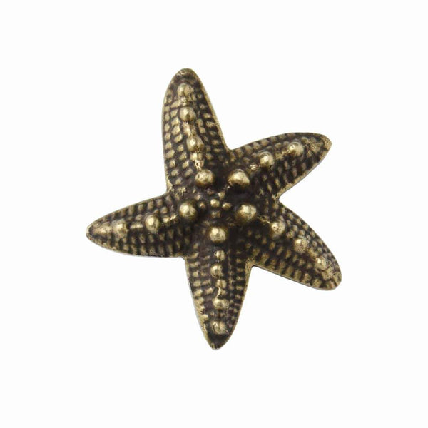 Brass Starfish  Decorative Handle - Samll -Accessories- Cream Cornwall