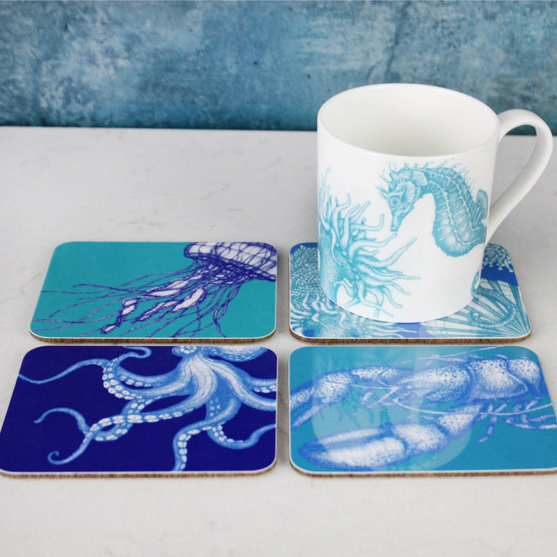 Set of 4 Coasters With Bright Sea Creature Designs -Kitchen & Dining- Cream Cornwall