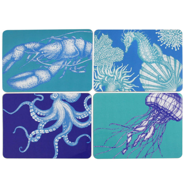 Set of 4 Placemats With Bright Sea Creature Designs -Kitchen & Dining- Cream Cornwall