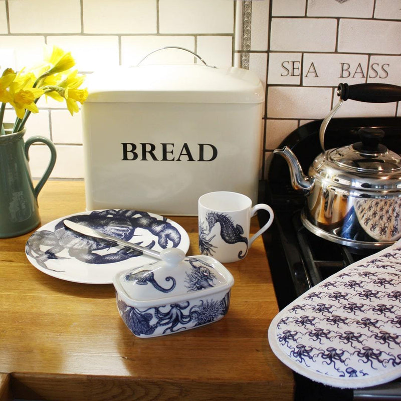Blue And White Bone China Butter Dish With Sea Creature Border -Kitchen & Dining- Cream Cornwall