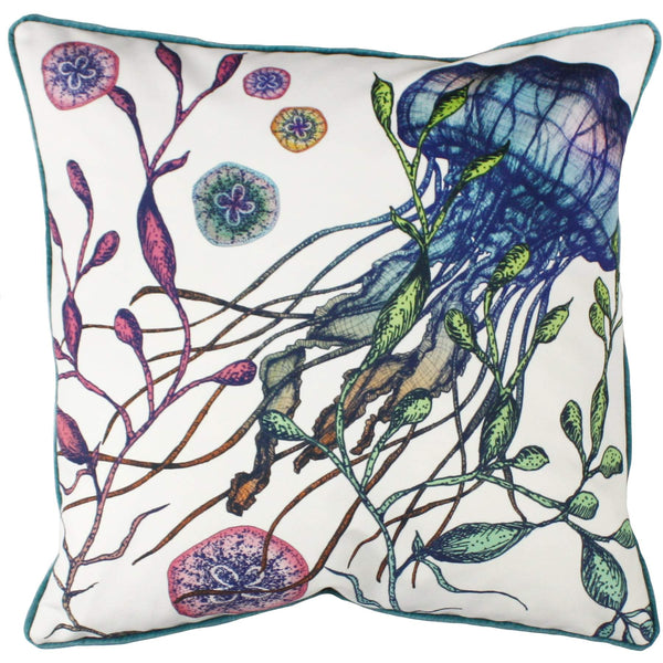 Canyons Reef Jellyfish Velvet Cushion Cover On White Velvet -Homeware- Cream Cornwall