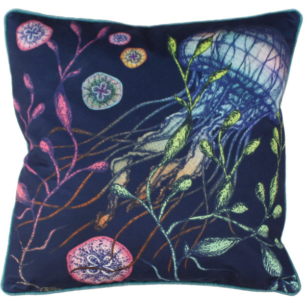 Canyons Reef Jellyfish Velvet Cushion Cover On Navy Velvet -Homeware- Cream Cornwall