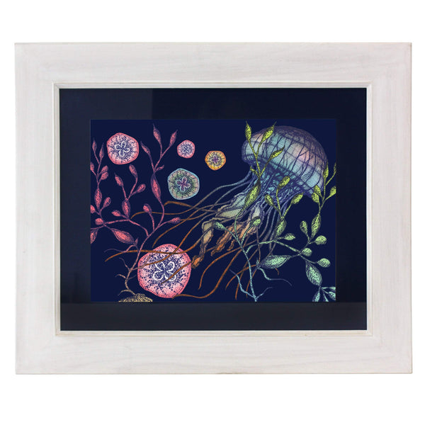 Canyons Reef Navy Art Print In Three Sizes - A4, A3 And A2 -Accessories- Cream Cornwall