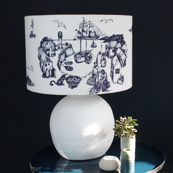 Carne Ceramic Lamp base In White -Homeware- Cream Cornwall