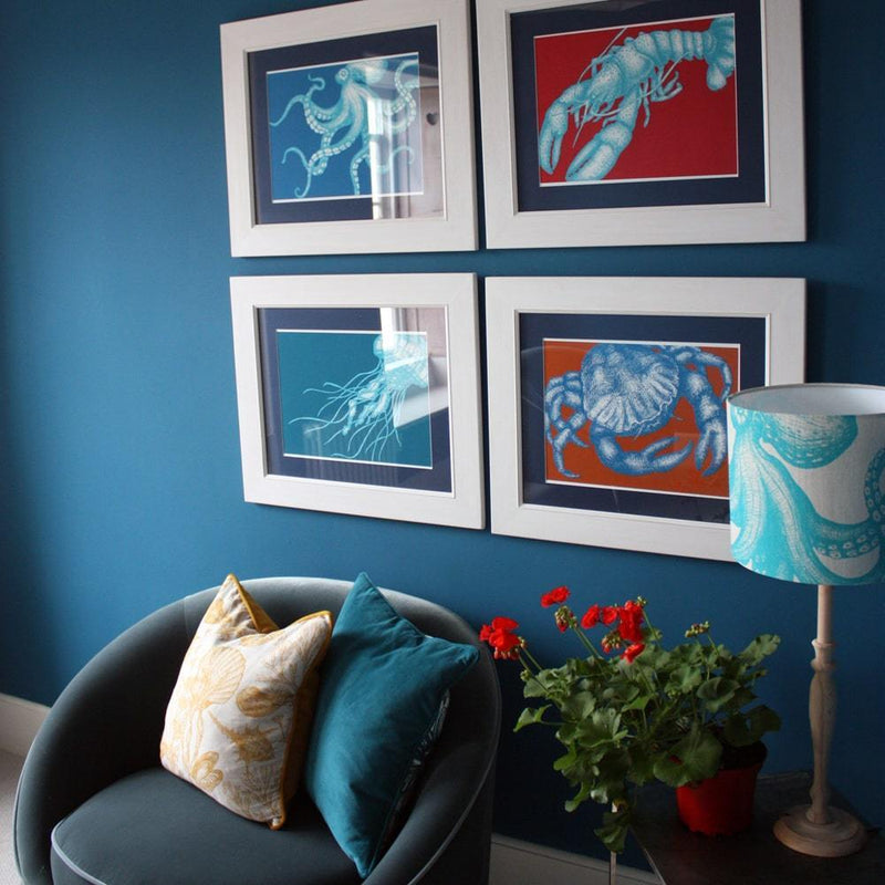 Crab Art Print In Bright Blue And Orange In Three Sizes - A2, A3 And A4 -Accessories- Cream Cornwall