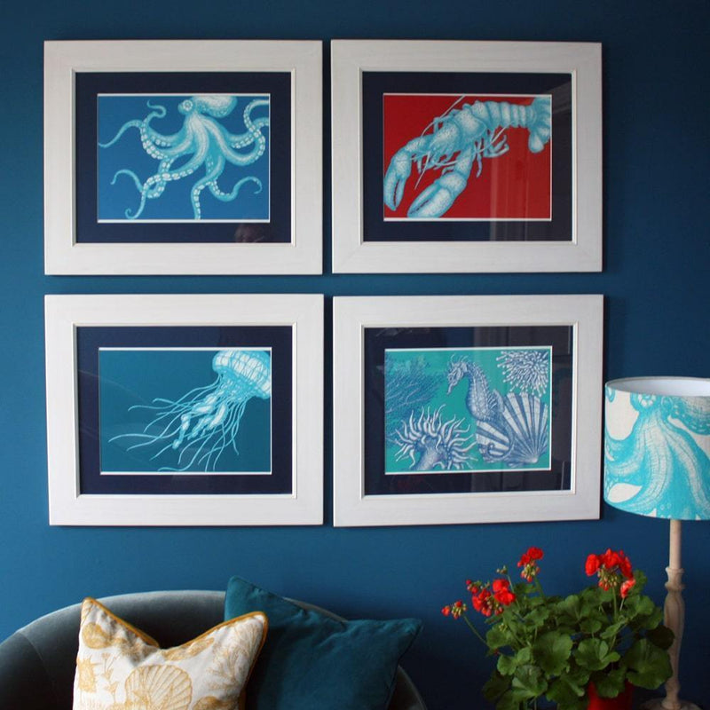 Lobster Art Print In Turquoise And Red In Three Sizes - A2, A3 And A4 -Accessories- Cream Cornwall